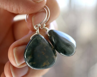 Moss Agate Earrings Gemstone . Dark Green Earrings . Green Stone Earrings . Large Stone Earrings . Chunky Earrings - Dunedin Collection