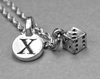 Dice necklace, dice charm, tiny dice necklace, dice jewelry, personalized necklace, personalized jewelry, initial necklace, initial charm
