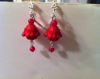 Buddha Earrings with Red Laughing Buddha Beads & Red Bead Dangle