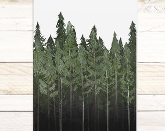 Into The Woods - Quartz Collection / Watercolor botanical wall hanging, wood trim art. Scientific Canvas Posters Chart More Options