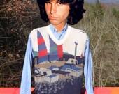 vintage 70s sweater vest SAILING novelty cotton knit hipster jumper XL Large 60s scudder wtf