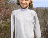 vintage 70s sweatshirt TRACK & COURT raglan heathered gray plain blank crewneck Medium soft thin 80s