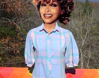 vintage 80s plaid blouse pintuck pastel short sleeve top women's shirt Medium 10 Small cheryl tiegs