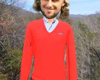 vintage 70s sweater v-neck DRAGON sears red grandpa Large XL preppy