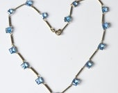 """Art Deco Necklace Light Blue Square Open Back Faceted Crystals Silver Tone Chain Fitting - 16"""" - Vintage 1930s - Gift Boxed"""