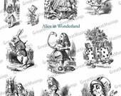 Black and White Alice in Wonderland Digital Collage Sheet Vintage Images download Illustrations No.202