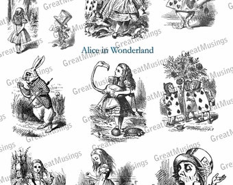 Black and White Alice in Wonderland Digital Collage Sheet Vintage Images download Illustrations No.202