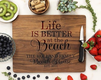 Cutting Board, Personalized Cutting board, Family Beach House Board, Life is Better at the Beach, Custom Engraved Walnut --21066-CUTB-002