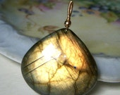 Fiery Labradorite Pendant 14k Goldfill Goldfilled, Large Wirewrapped Pendant Only, Golden Green Flash Labradorite Teardrop Gemstone