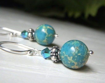 Sea Sediment Earrings Sterling Silver Round Dangle,  Turquoise Impression Jasper Earrings, Natural Stone Jewelry