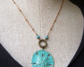 Large Turquoise Patina Sanddollar Necklace on Brass, Sand Dollar Beach Jewelry