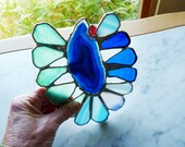 Large Stained Glass Flower Sunflower Suncatcher with Agate Center, Blue Aqua Turquoise Petals - Fiji