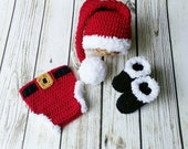 Crochet Santa outfit, Santa Hat Diaper cover boots,newborn photo prop, babys first christmas outfit, newborn, infant, toddler, made to order