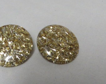 Vintage 50s Earrings Confetti Lucite Bombshell 50s MCM Atomic Rockabilly 1950s Gold Shimmer Oversize Button