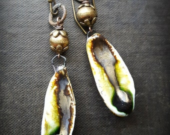 Ceramic Pods, Porcelain, Scorched Earth, Ethiopian Brass, Vintage, Rustic, Organic, Earthy, Beaded Earrings