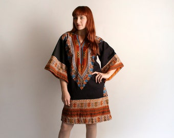 Vintage Dashiki - Ethnic Bohemian African Style Angel Sleeve 1970s Tunic Dress - Festival Fashion 70s - Medium Large