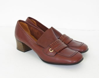 MOVING SALE - 1970's Vintage Brown Spanish Leather Wood Stacked Heel Loafer Heels Sz 7.5 US