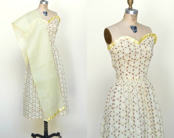 1940s Strapless Dress --- Vintage Yellow Print Dress