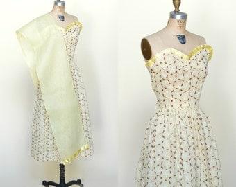 1940s Strapless Dress --- Vintage Yellow Print Dress