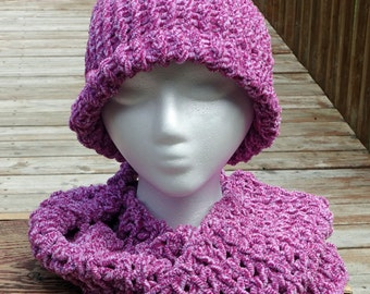 Knit Hat and Crocheted Scarf - Soft Pink Winter Hat and Scarf - Winter Accessories