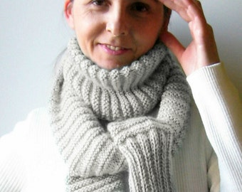 Pearl Gray Wool Long Cute Scarf, Winter Scarves, Knit Shawl, Wrap, Womens Scarves, Scarf Knit, Mens Scarf, Sweater Scarf, Ready to Ship