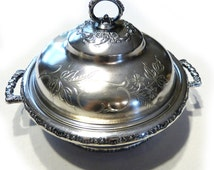 SALE! PAIRPOINT 2482 Antique Quad Silver Plate Ornate Engraved Round Vegetable Casserole Serving Dish