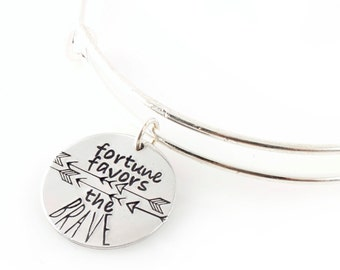 Fortune Favors the Brave - Adjustable Bangle Bracelet