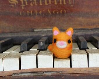Needle Felted Tiny Cat - Animal Art Doll Orange Cat - Made to Order - Cute Cat - Felt Cat - By Karen Watkins