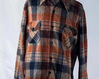 Men's Plaid Shirt / Vintage Burnt Orange, Navy Blue and White / Size XL / #2090