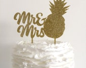 Mr & Mrs Pineapple Gold Glitter Wedding Cake Topper -  Tropical Wedding - Laser Cut Acrylic