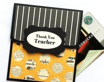 Teacher Appreciation Gift Card Holder, Thank You Teacher Card, End of School Teacher Gift Card Envelope, Teacher Money Card