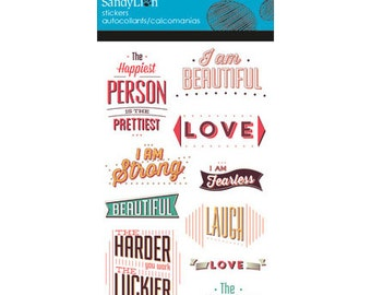Vintage Typography Sticker (2 packs) Clear with Glitter Sticker (ST8040)