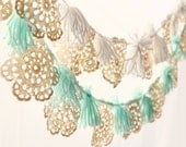 Crochet tassel garland, Vintage wedding decor, Ivory doily up cycled wall hanging, TEAL or WHITE yarn, Gender neutral nursery decor