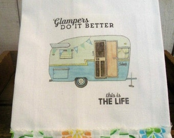 Glamping Camping Shabby Prairie Farmhouse cotton Kitchen dish towel Tattered ruffles ECS RDT glamplers do it better