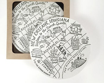 Letterpress French Quarter, New Orleans Map Coasters
