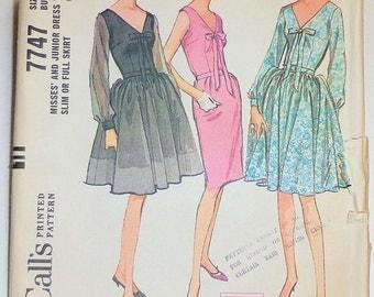 Vintage 1965 McCall's Sewing Pattern # 7747 Misses Dress Sz 16 Bust 36 Uncut