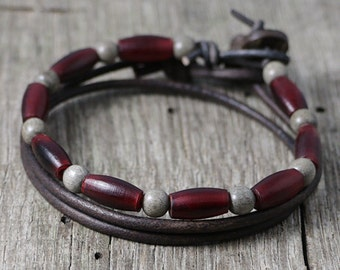 Mens Surfer Bracelet Stack, Leather, Wood Beaded, Beads, Mala, Yoga, Red Horn, Grey, Natural, Masculine, Surf, Handmade, Eco, Sol Creations
