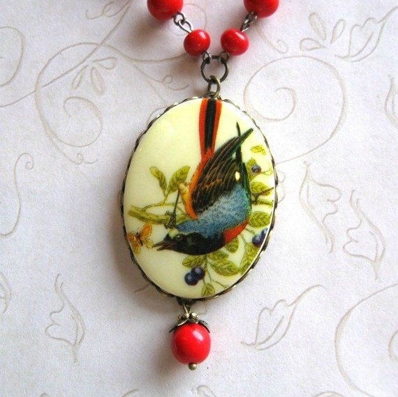 Vintage style bird necklace, long chain, large pendant, red glass beads