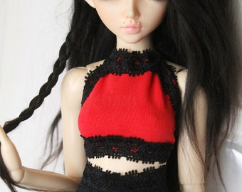 BJD Doll Minifee clothes MSD clothing Red and Black lace halter tank Top MonstroDesigns