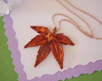 Copper Leaf Necklace Japanese Maple, Real Copper Leaf, Real Maple Leaf Necklace, Maple Leaf, Rose Gold Filled, LC98