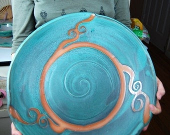 Massive Hand Thrown Platter in Turquoise and Rust Waves - Made to Order