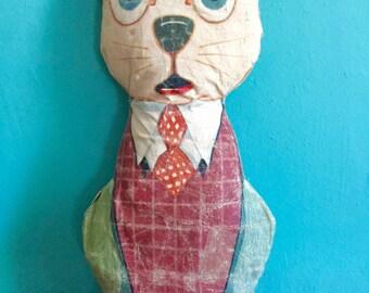 Vintage Oilcloth Stuffed Cat Kelloggs Advertising Premium