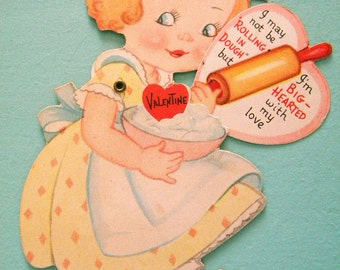 Vintage Mechanical Valentine's Day Card Pastry Chef with Rolling Pin