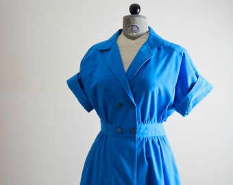80s Dress • Wrap Dress • 1980s Dress • Summer Dress • 80s Sundress • Double Breasted Dress • Blue Dress • Nautical Dress • Vintage Sundress