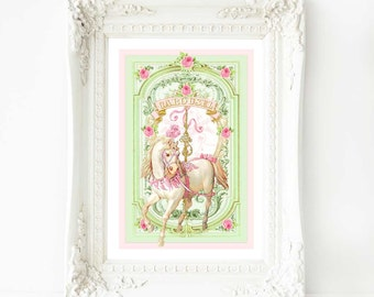 """Carousel horse nursery print, in pink and mint green, for baby girl, A4, 8"""" x 10"""" giclee"""