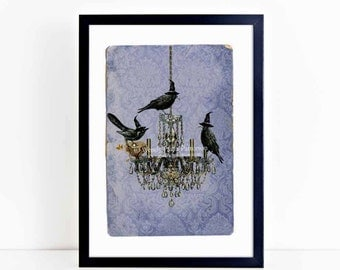 Halloween print, Halloween decor, vintage chandelier, Murder of Crows, crows, home decor, gothic decor, black, silhouette, gothic wall art