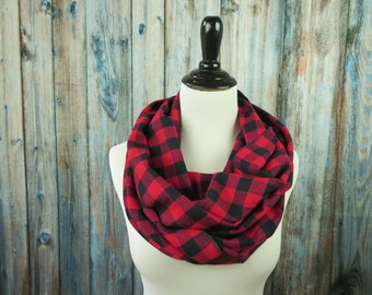 Red & Black Buffalo Check Scarf - Red Buffalo Plaid Scarf - Red Plaid Flannel Scarf - Red Plaid Infinity Scarf - Circle Scarf