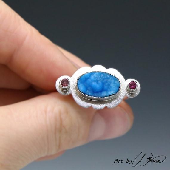 Statement ring, ruffle ring, multi stone ring, pink and blue, pink tourmaline ring, hemimorphite ring, girly ring, ooak ring, feminine ring