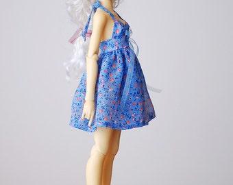 Babydoll blue chiffon summer dress - Slim Mini MSD BJD clothes