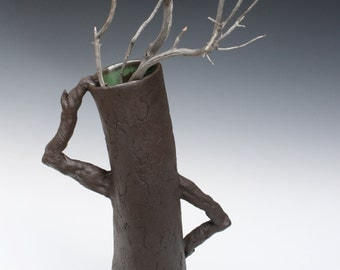 Now thats a Headscratcher. Tall tree black vase with handles. Ent ceramic sculpture. Large statement vase,  by Chelsea Mae